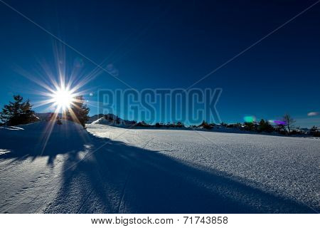 Morning On A Ski Slope Of Dolomiti, Italy
