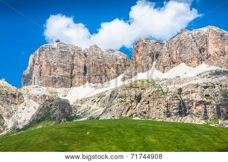 Panorama Of Sella Mountain Range From Sella Pass, Dolomites, Italy