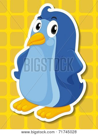 Illustration of a penguin with yellow background