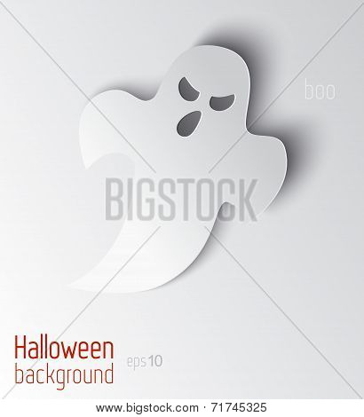 Vector Halloween Background With Ghosts