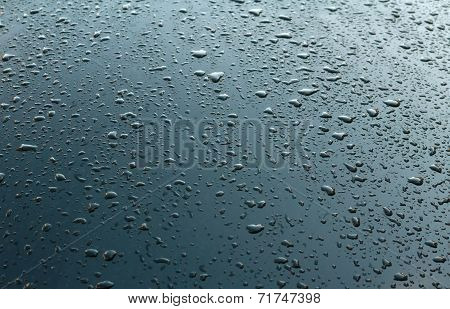 Texture Black Car Hood With Rain Drops