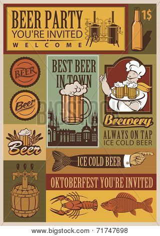 Beer retro set