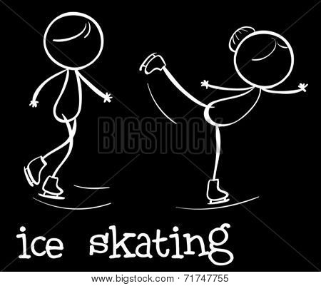 Illustration of people doing ice skating