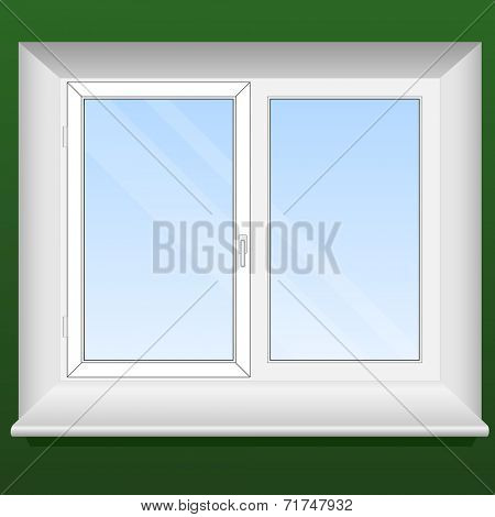 Illustration of a new pvc window with one opening leaf.