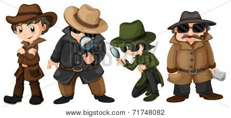 Illustration of detectives set