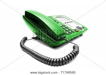 Green Ip Office Phone Isolated
