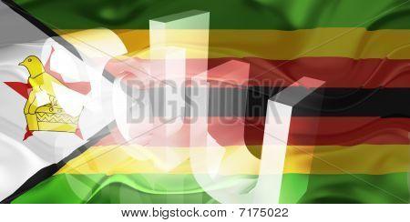 Bandeira do Zimbabwe ondulado educação
