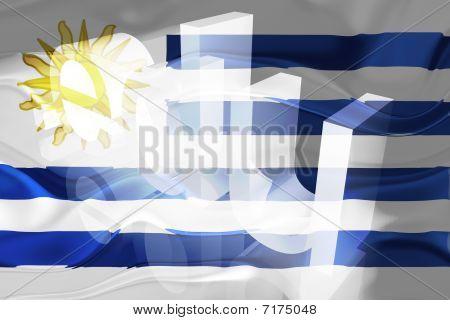 Bandeira do Uruguai ondulado educação