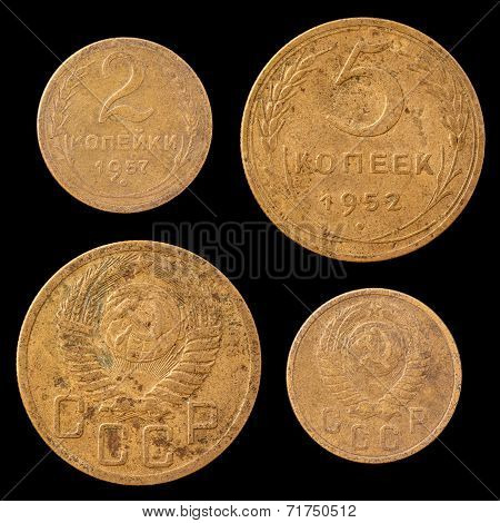 Two Soviet Union Coins on a Black Background.