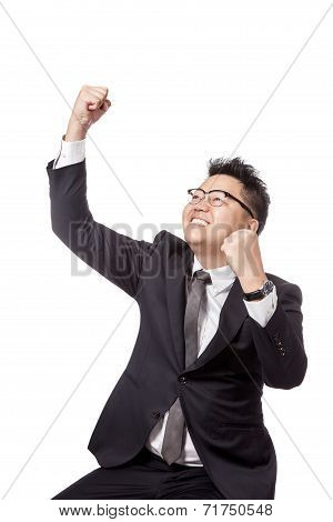 Asian Businessman Do Fist Pump For Success