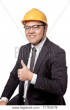 Asian Businessman With Yellow Hardhat Thumb Up And Smile