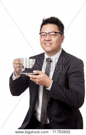 Asian Business Man Drinking Coffee And Smile