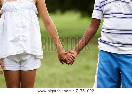 Children Love Black Boy White Girl Holding Hands