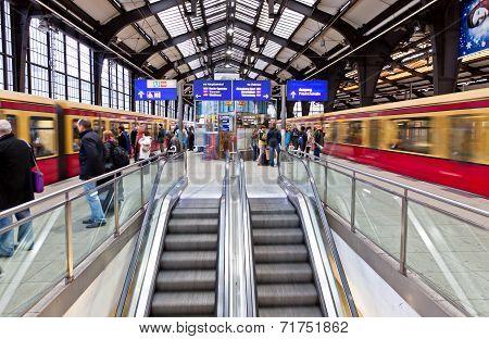 Passengers Waiting Trains At Friedrichstrasse S-bahn Station
