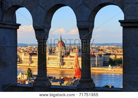 Hungarian Parliament Building In Budapest, View From Fisherman's Bastion