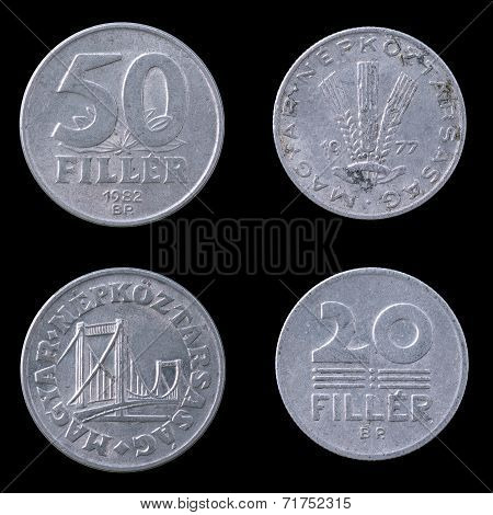 Two hungarian coins on a Black Background.