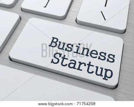 Business Startup on White Keyboard Button.