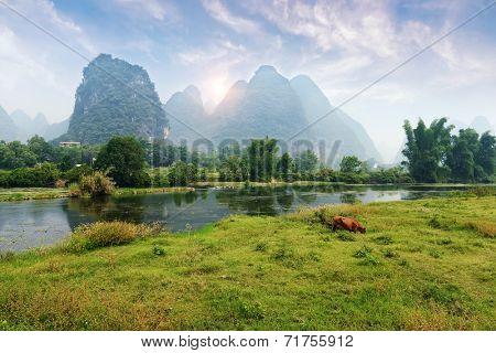 Beautiful Karst mountain landscape in Yangshuo Guilin, China