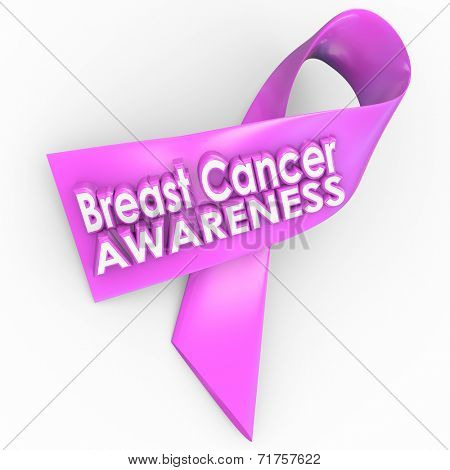 Breast Cancer Awareness words on a pink ribbon for fundraising to find a cure to the terrible disease afflicting too many women