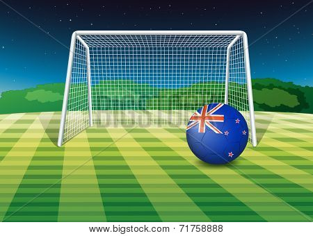 Illustration of a soccer ball at the field with the New Zealand flag
