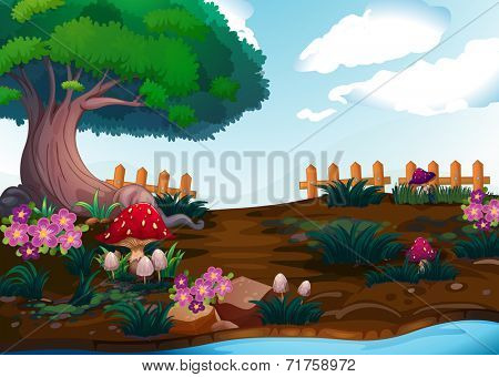 Illustration of the small plants near the giant tree