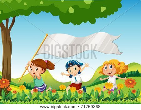 Illustration of the three kids running with a banner