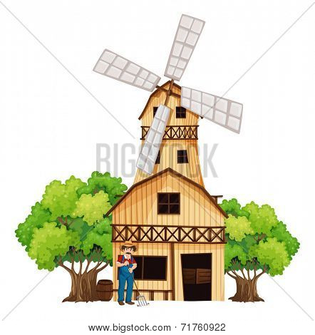 Illustration of a farmer in front of the barnhouse on a white background