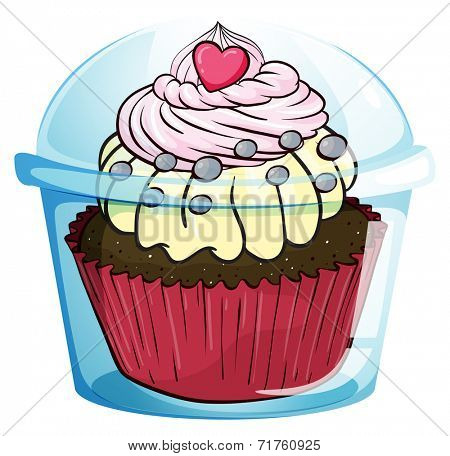 Illustration of a cupcake inside the disposable cup with a cover on a white background
