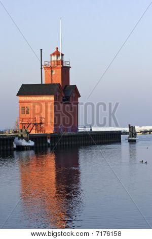 Lake Michigan Lighthouse In Morning Light