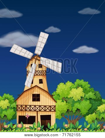Illustration of a wooden barnhouse in the middle of the forest
