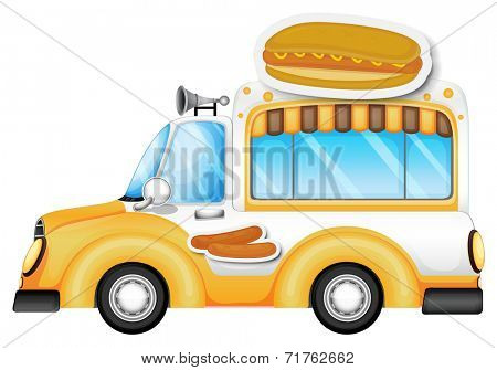 Illustration of a vehicle selling buns and hotdogs on a white background