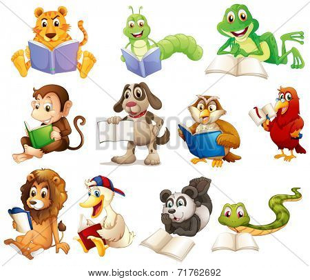Illustration of a group of animals reading on a white background