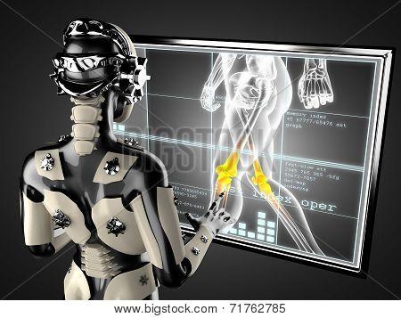 cyborg woman manipulating hologram display