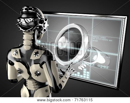 cyborg woman manipulating hologram display