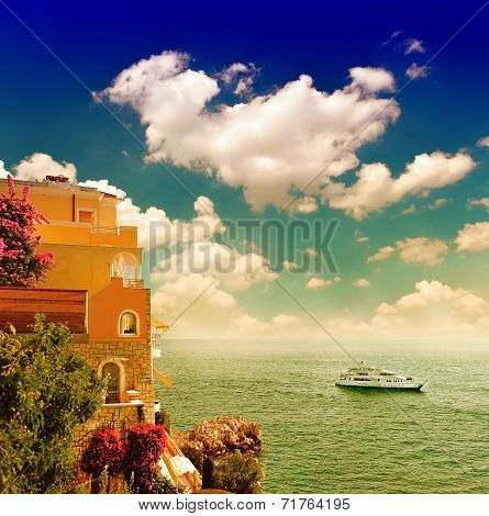 Beautiful Mediterranean Sunset Landscape. View Of Sea