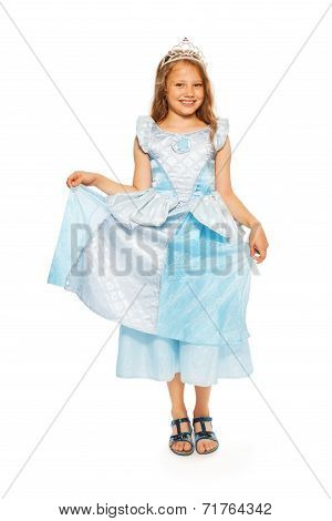 Girl in blue princess dress with crown