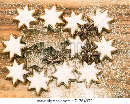 Christmas Bakery. Cinnamon Stars With Sugar Powder