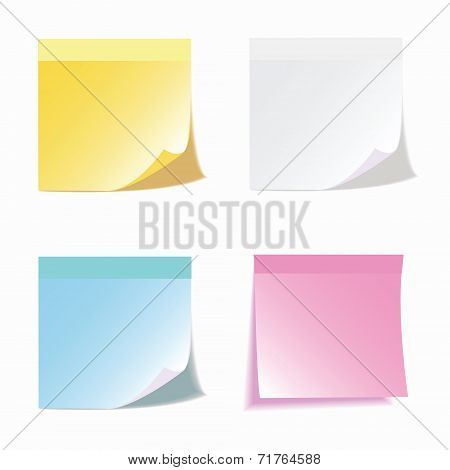 Set of colorful vector sticky notes.transparent shadows