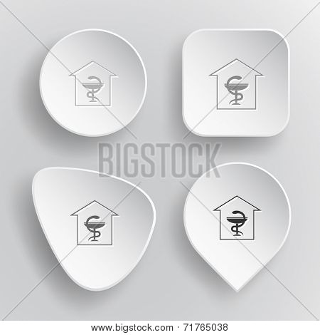 Pharmacy. White flat vector buttons on gray background.