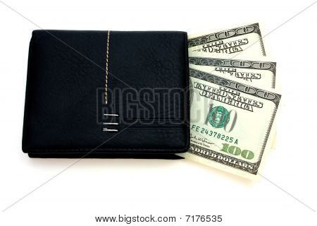 American Dollars With Black Leather Wallet