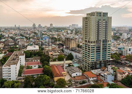 Saigon Skyline with modern building and little houses