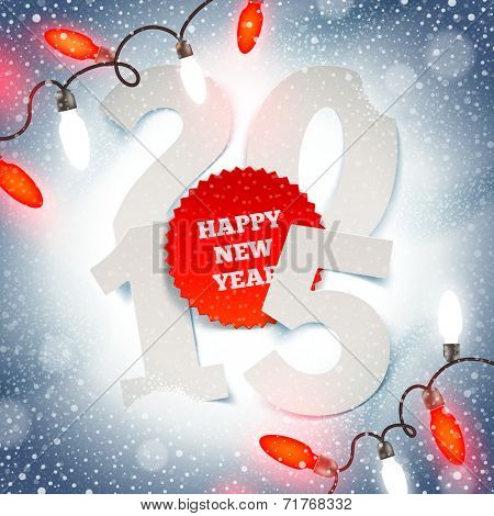 New years greeting illustration -  paper year number on snow and Christmas light
