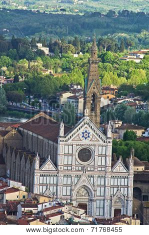Aerial telephoto view of Florence from one of many towers, Tuscany