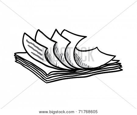 stack of white papers, hand drawn style, vector illustration