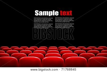 Rows of red cinema or theater seats in front of black screen with sample text space. Vector.