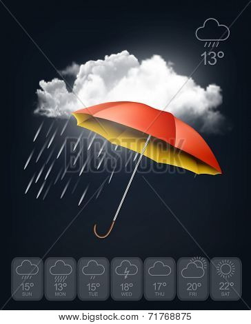 Weather forecast template. An umbrella on rainy background. Vector.