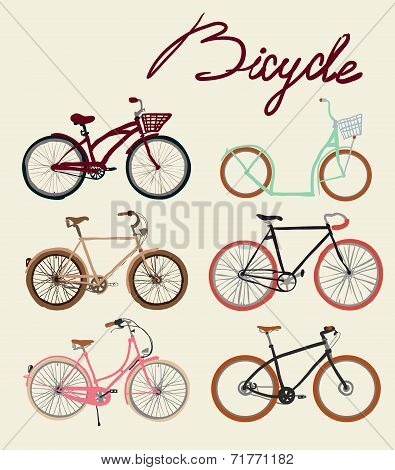 Vintage bicycle Set. Vector illustration.