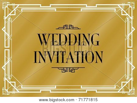 an art deco style invitation card
