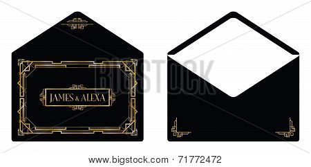 an art deco style invitation envelope