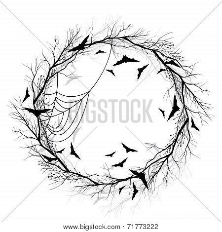 Vector Halloween wreath white background